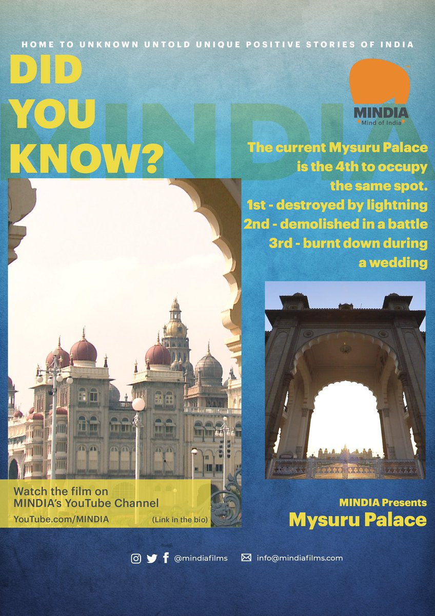 DID YOU KNOW?  The current Mysore Palace is the 4th to occupy the same spot. 1st destroyed by lightning,2nd demolished in a battle and 3rd burnt down during a wedding.  #didyouknow #facts #mysurupalace #karnataka #palaces #heritage #royal #royalstories #mindia #tourism #indiapic.twitter.com/mPsEffNUys