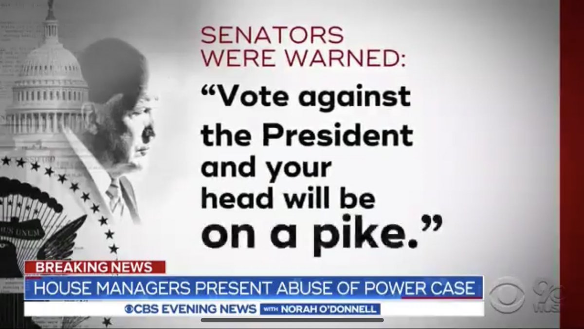 """CBS News reports that GOP Senators have been warned by Trump team: """"Vote against the president, and your head will be on a pike."""" How is this acceptable?"""