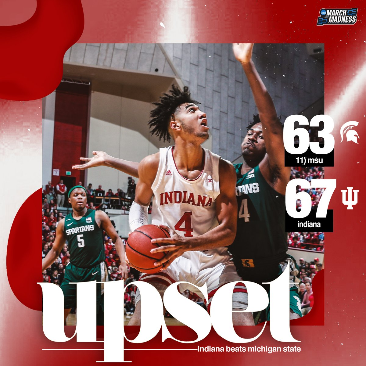 HOOSIERS DOWN SPARTY!  Indiana UPSETS No. 11 Michigan State in a thriller at Assembly Hall! #IUBB ⚪️🔴