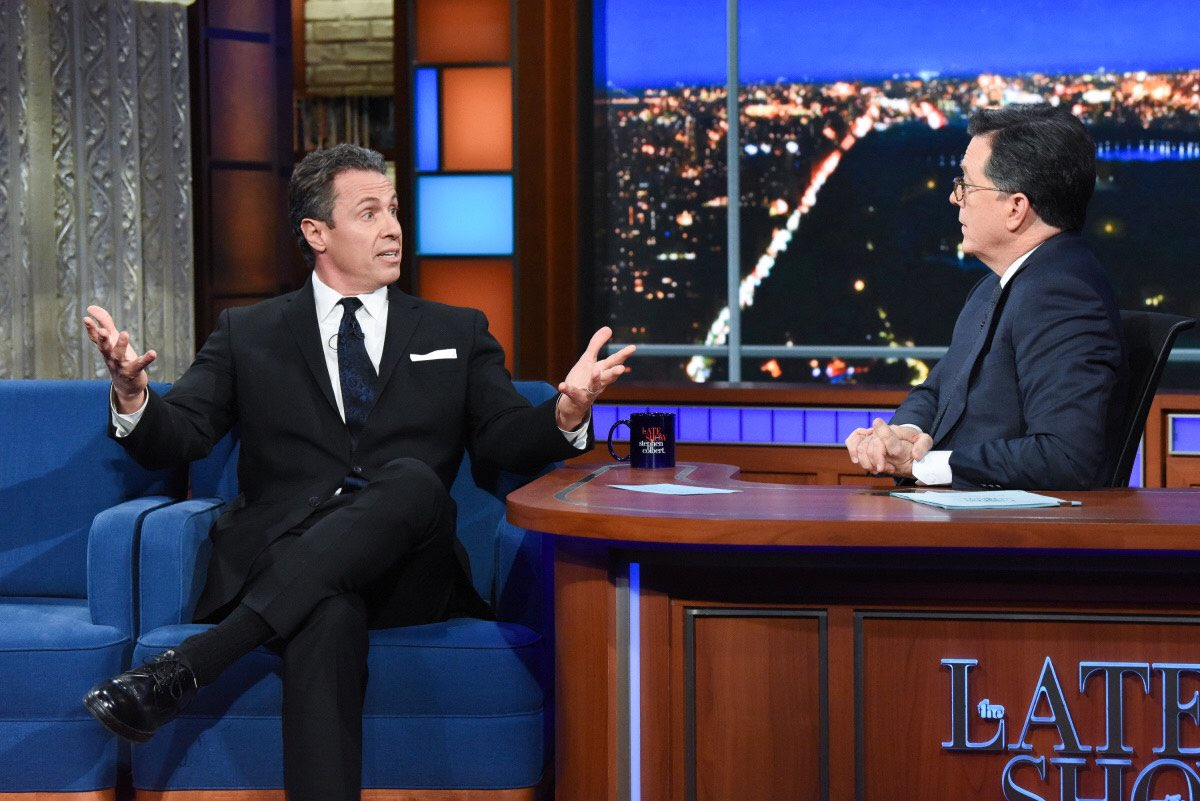 TONIGHT: @ChrisCuomo gets after it with @StephenAtHome on @colbertlateshow. Tune into CBS at 11:35PM ET.