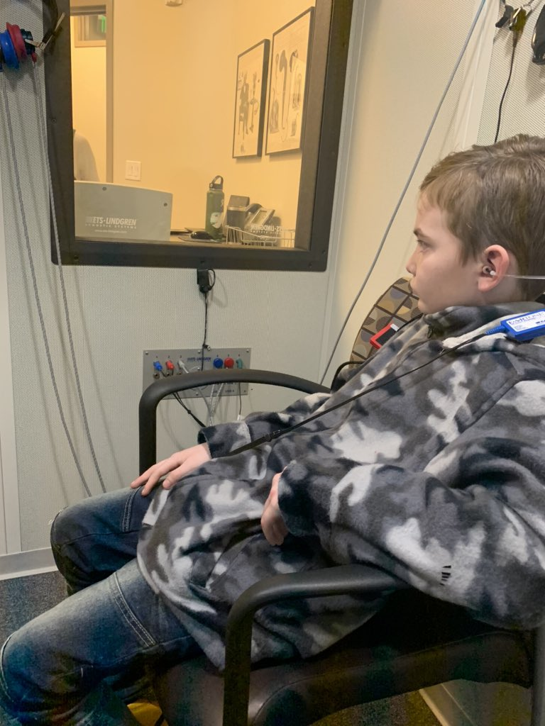 Little dude getting a hearing test. Passed it perfectly..... me: how come you don't listen when I call you???
