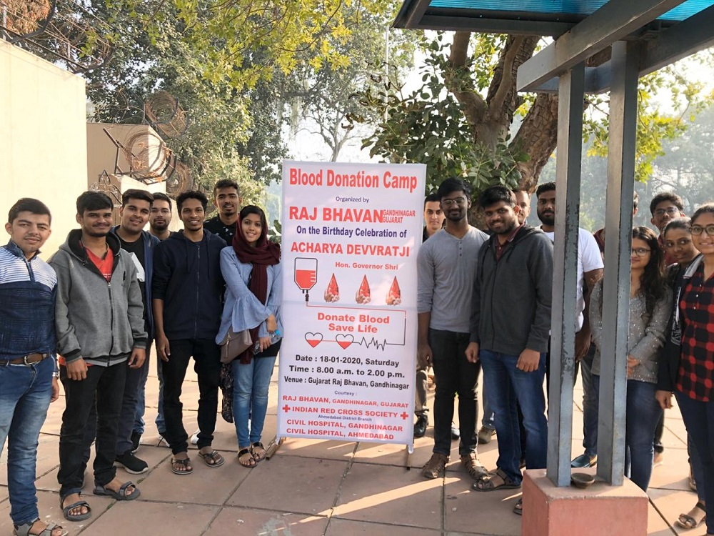 Students from Gujarat Forensic Sciences University actively participated in the Blood Donation Camp organized by Raj Bhavan, Gandhinagar on the Birthday Celebration of Hon. Governor of Gujarat – Shri Acharya Devvrat Ji on 18th January 2020. #BloodDonation #GFSUStudents