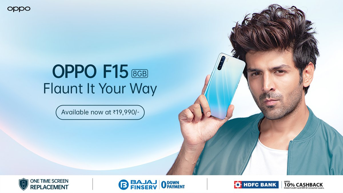 Get your hands on the sleek & stylish #OPPOF15 and #FlauntItYourWay just like @TheAaryanKartik! Order now and experience its 48MP AI Quadcam and super fast VOOC 3.0 Flash Charge.  Order now: https://www.oppo.com/in/smartphone-f15/ …