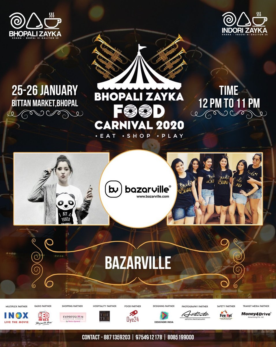 Showcasing all new products range with exciting discounts at @bhopalizayka Carnival 2020.  Stall no - 26  Visit us there !! Awaiting your response.   #bhopalizayka #bazarville #bfc #bfc2020 #bhopalizaykacarnival #2020 #bhopalfoodcarnival #foodatbfc #bhopal #bhopali #bhopalifoodpic.twitter.com/2rP5BZMB3Q