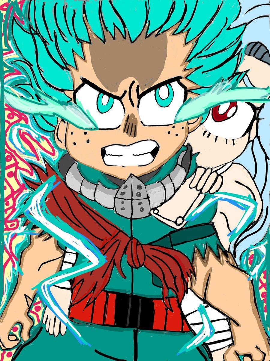 My fanart of Deku & Eri from My Hero Academia #MyHeroAcadamia #BokuNoHeroAcademia #Deku #OneForAll #ERI #fanart #art #digitalart #drawings #animefanart #anime #transformation #enhanced #fullcowling