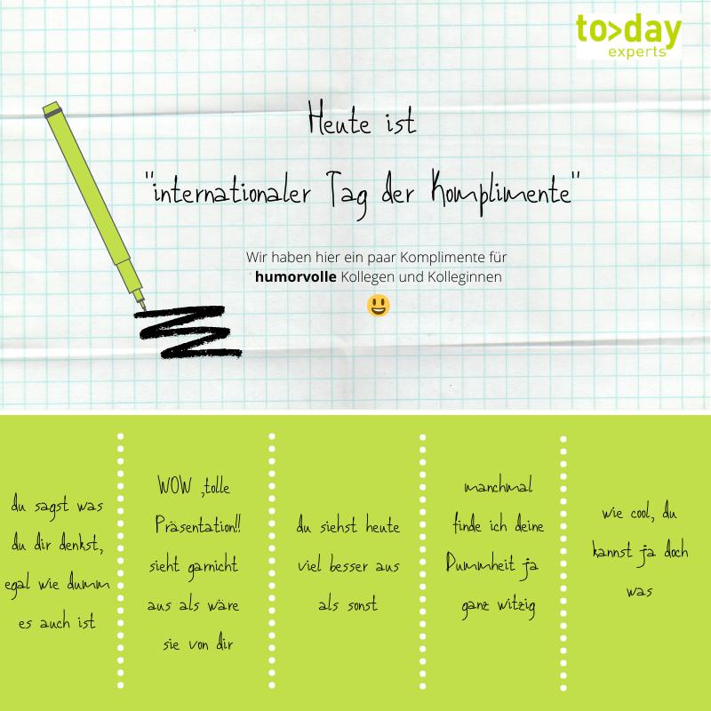 """und welche """"liebevollen"""" Komplimente habt ihr schon so bekommen? #todayexperts #fridaymood #celebratework pic.twitter.com/IT5Q8xPT28"""