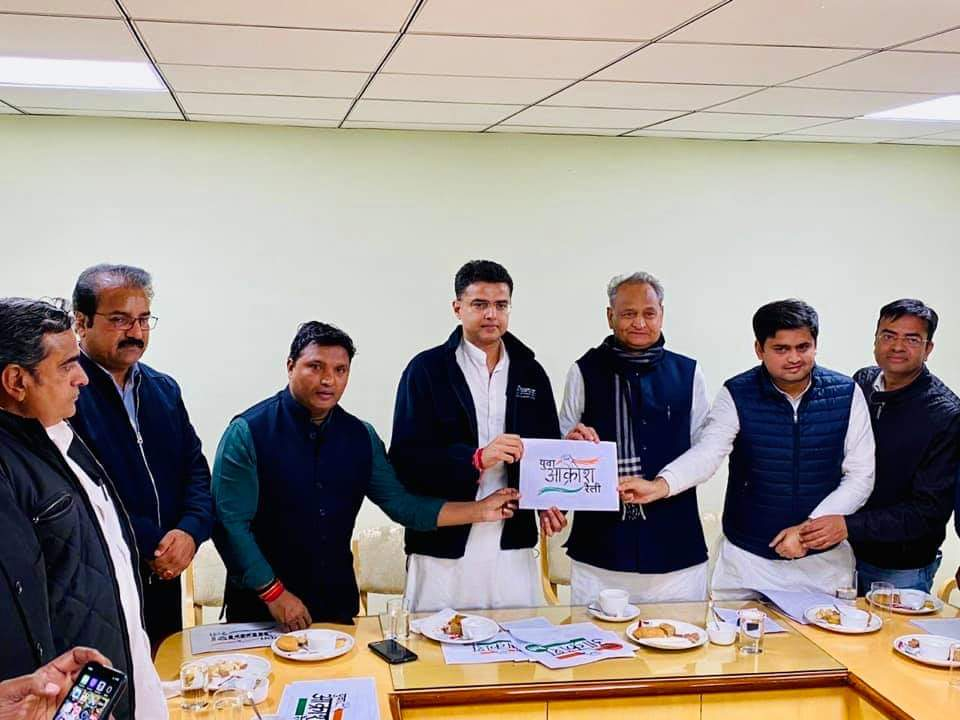 Honoured to release the Jan Akrosh Rally poster ahead of Shri @RahulGandhi's rally in Jaipur.  With Rajasthan CM Sh @ashokgehlot51, Deputy CM and State President Sh @SachinPilot, @nsui president Sh @Neerajkundan and several others.<br>http://pic.twitter.com/SO2PBHMiAO