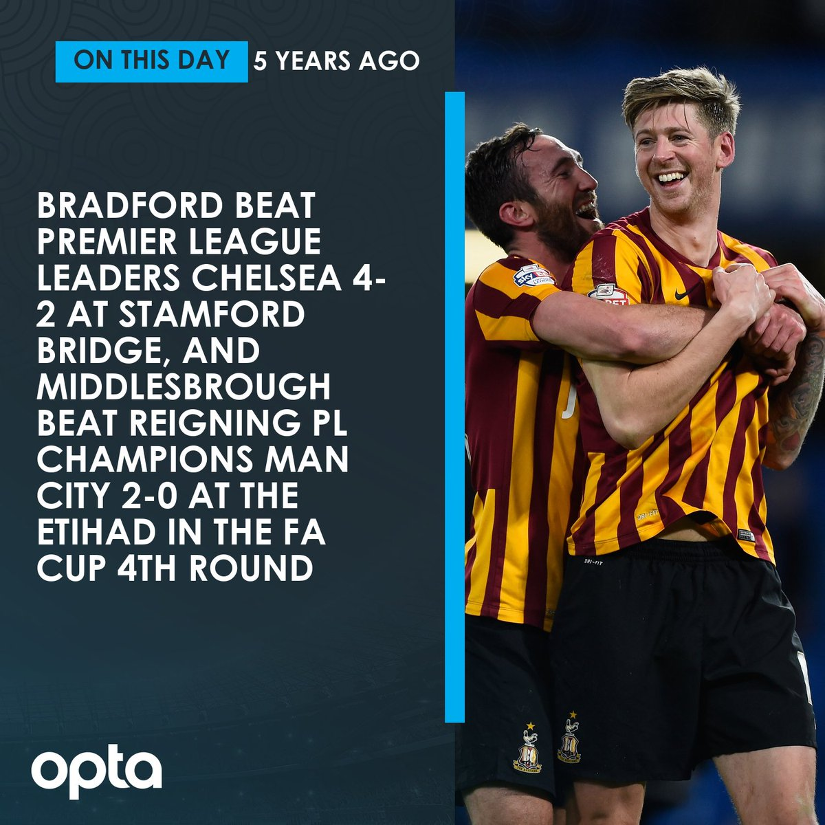 24/01 - On this day in 2015, Bradford stun Chelsea by coming from 2-0 down to win 4-2 at Stamford Bridge, while Middlesbrough beat Man City 2-0 at the Etihad in a day of FA Cup fourth round shocks. Underdogs.