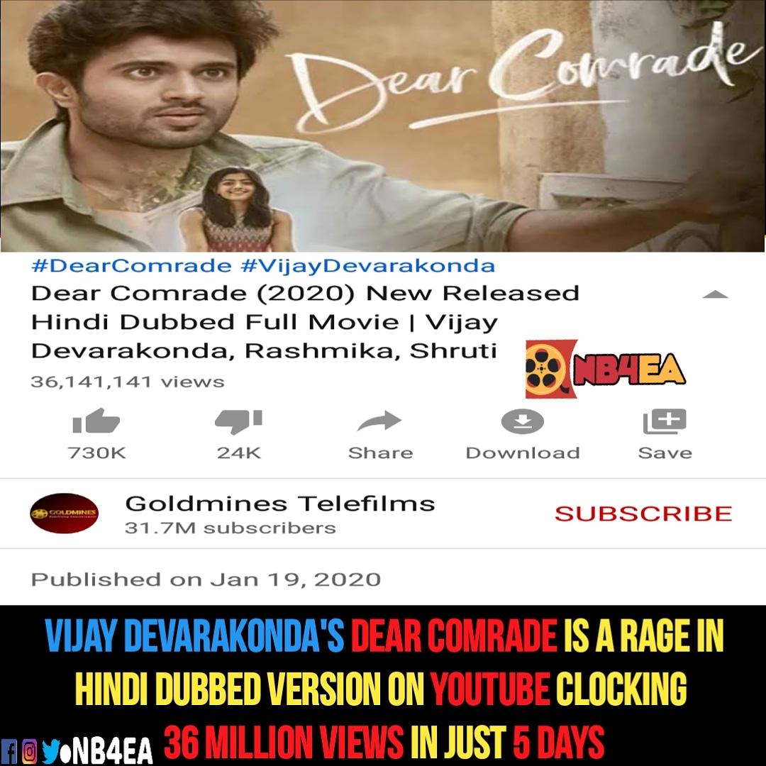 #VijayDevarakonda's #DearComrade Hindi dubbed is phenomenal with 36 Million views in 5 days #hindidubbed @TheDeverakonda @iamRashmika @bharatkamma #vijaydevarkonda #vijaydevarakondafans #nb4ea  #vijaydevarakondafc #rashmikamandana #neverb4everafter #RashmikaMandanna #bharatkammapic.twitter.com/X3gkLfAwWa