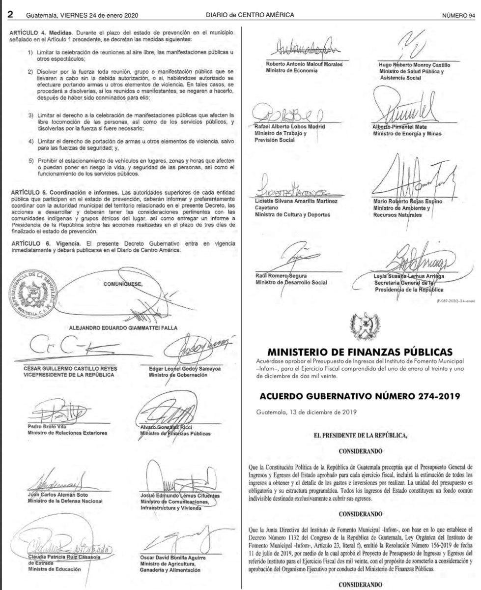 test Twitter Media - Gobierno publica en el Diario Oficial el decreto Gubernativo 2-2020 con el que se declara estado de Prevención por seis días en el municipio de Villa Nueva. https://t.co/60hmA3meUw