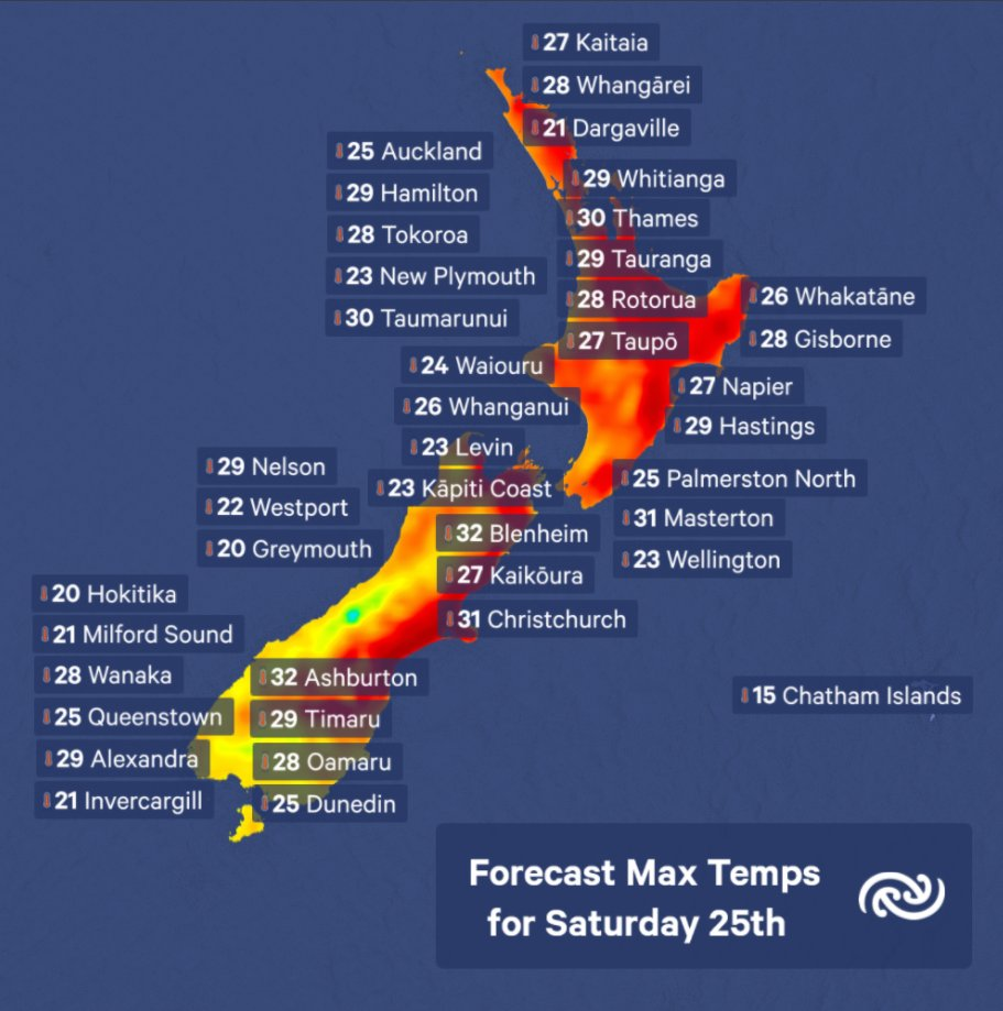 Temperatures across the North and South islands range from 20°C in Hokitika and Greymouth to 32°C for Blenheim and Ashburton Saturday.    A little cooler tomorrow for those hots spots, then warm again on Monday.    Check out your location at  metservice.com/towns-cities   ^SF https://t.co/8ttpzzy0oP