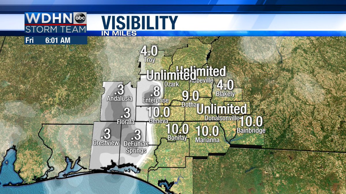 Dense fog impacting the western half of the #Wiregrass this morning, may be a good idea to add some extra time to your morning commute...#ALwx #FLwx