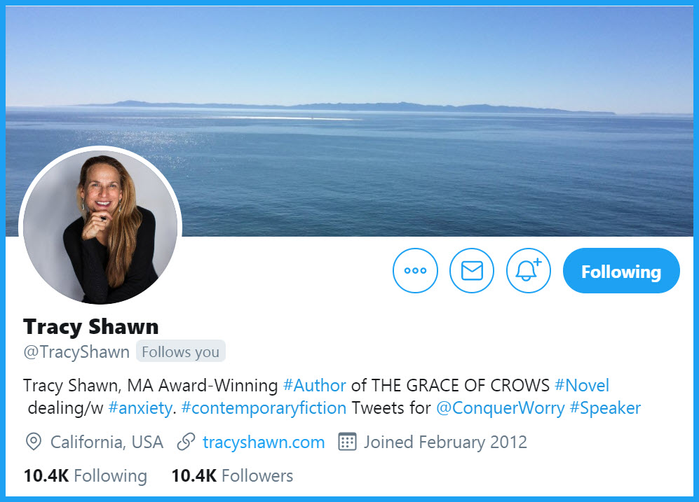 Tracy Shawn @TracyShawn  Tracy Shawn, MA Award-Winning #Author of THE GRACE OF CROWS #Novel dealing/w #anxiety. #contemporaryfiction Tweets for  @ConquerWorry  #Speaker California, USA https://www.tracyshawn.com/    TYVMpic.twitter.com/Jo1Mk3RYFd