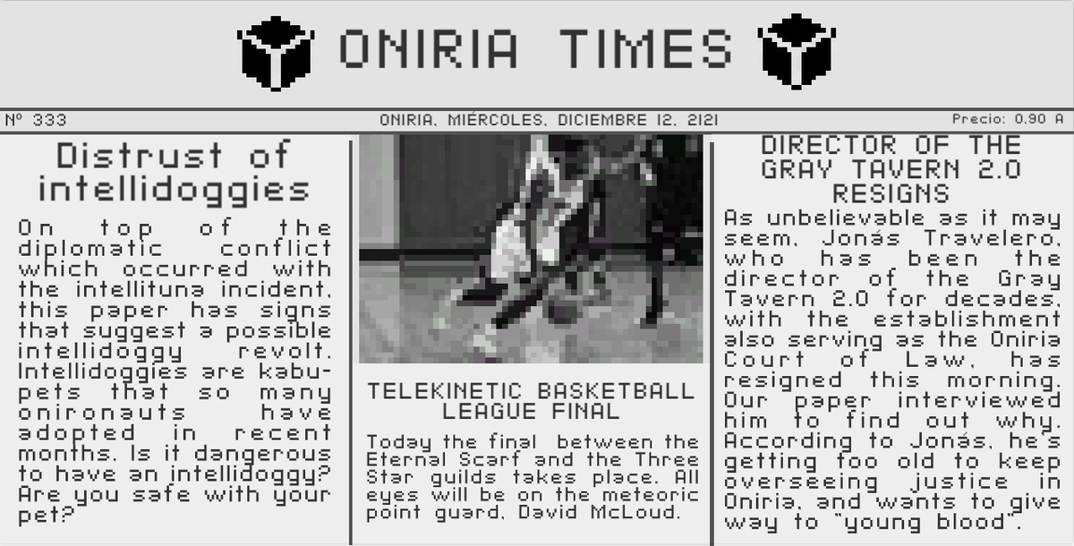 SUBSCRIBE our#newsletter  Play #free Oniria Times! SUPPORT US#OniriaCrimes in development!  We are giving away #freecontent!#game #videogames #gamedev #newspaper #indiedev #indiegames #rpg #play #new #pc #scifi #voxel #voxelart #ENJOYTHISpic.twitter.com/v5Xx5j2hwu