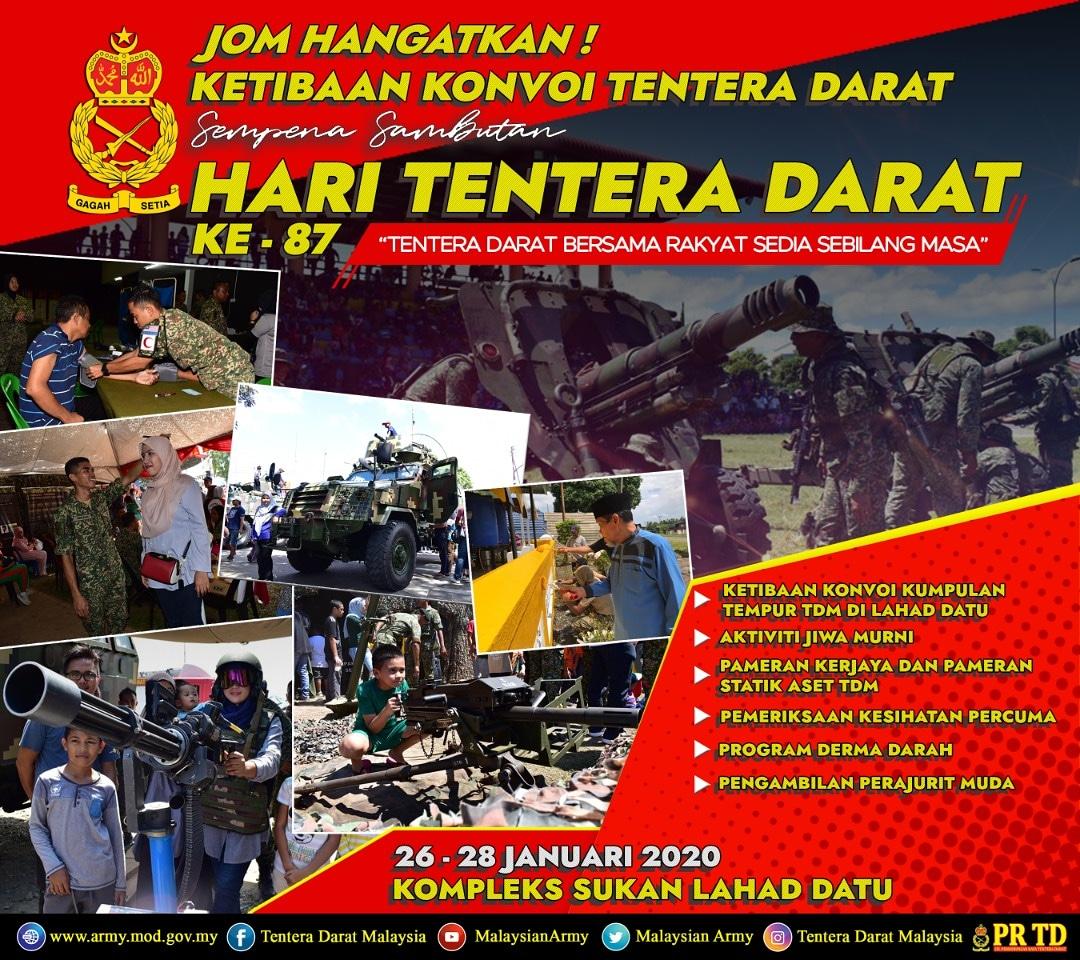 Ayuh warga Lahad Datu!! 2 Hari sahaja lagi!! #SABAH #LAHAD DATU  Saksikan Ketibaan Konvoi Tentera Darat!  #HariTenteraDaratKe-87  Lokasi : Kompleks Sukan Lahad Datu Tarikh : 26 hingga 28 Januari 2020  Masa : 7.00 pagi sehingga 5.00 petang.  Kami menanti anda di Lahad Datu!! https://t.co/EJxMhz3prn