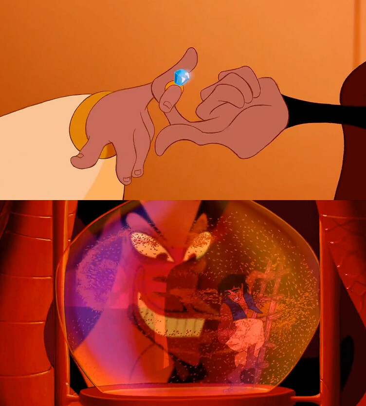 """In Aladdin (1992) Jafar steals the Sultan's ring to find the""""diamond in the rough"""" for his own greed. The lie he gives is to find a suitable husband for Jasmine. He finds Aladdin <br>http://pic.twitter.com/ub4hojI9eT"""