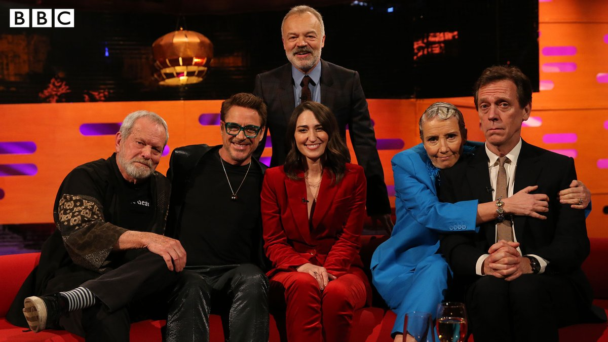 Tonight on The Graham Norton Show…⭐@TerryGilliam⭐@RobertDowneyJr⭐@SaraBareilles⭐ Emma Thompson⭐@hughlaurie🌟@grahnort#TheGNShow | 10.35pm | @BBCOne & @BBCiPlayer