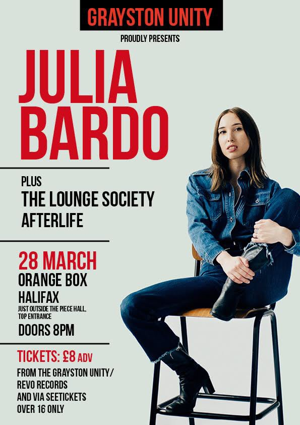 Tickets available for @iamjuliabardo at @OrangeBoxHX 28 May from the bar & Revo today (from 12) & on line at SeeTickets