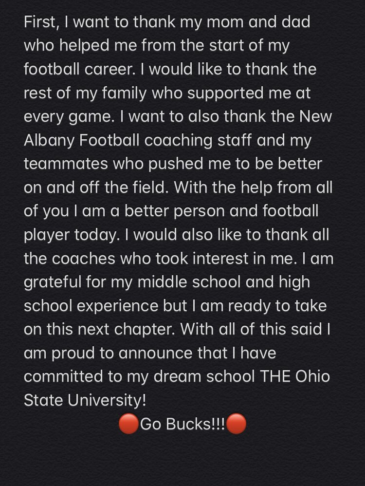 I am very excited to announce that I am committed to THE Ohio State University! #GoBucks <br>http://pic.twitter.com/9bdVGpJpTb