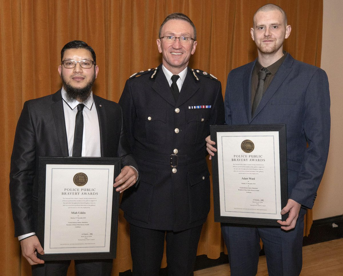 Members of the public, Adam Ward and Miah Uddin, commended for outstanding bravery. crowd.in/w7ePBu