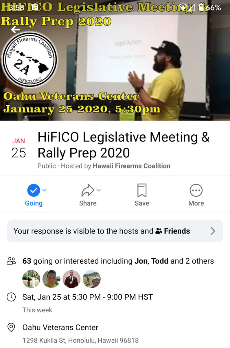 Aloha, hope you can join us or at least spread the message that a #2ndAmendment rally at the Capitol is scheduled for Thurs Jan 30th. Hawaii Firearms Coalition has a prep meeting this Sat: