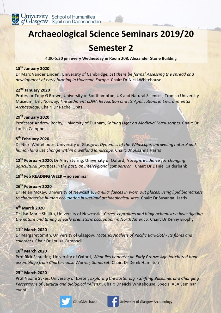 Please note the changed venue for our seminars this semester! #Archaeology @UofGArts @UofGNews @UofGHumanities