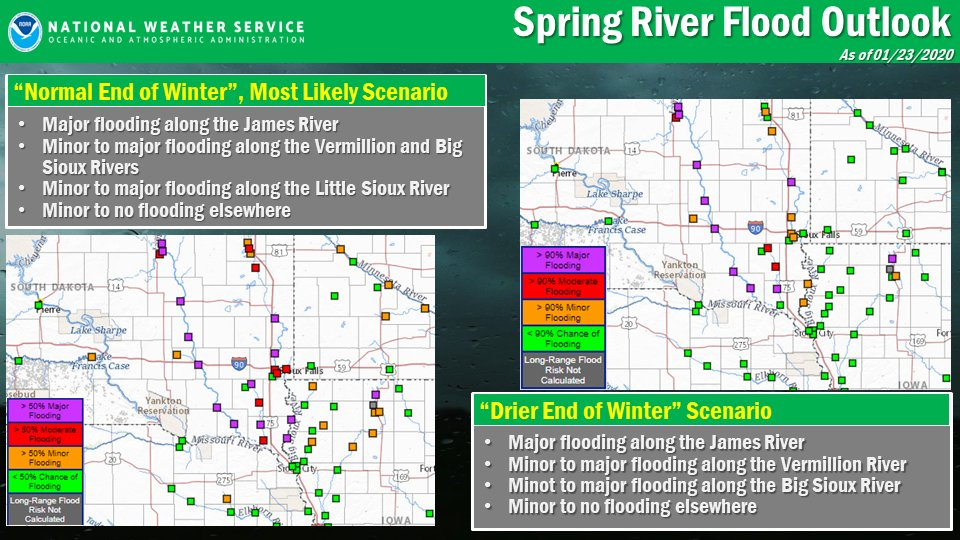 Here's a first look at 2 scenarios for spring river flooding. Even if the rest of winter is drier than normal, many points along the James and Vermillion Rivers can still expect significant spring flooding.   The next spring flood outlook is issued in mid Feb.