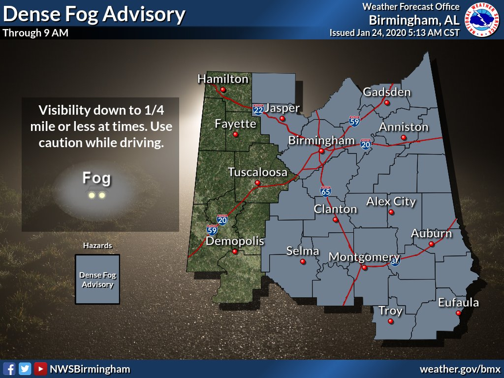 NWSBirmingham: Dense Fog Advisory now in effect for most of Central Alabama through 9am. Visibility could drop to 1/4 mile or less, especially in higher elevation locations. Visibility will improve from west to east as we go through the morning. #alwx