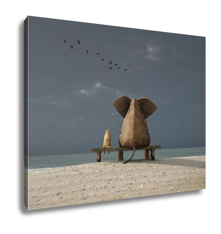 Gallery Wrapped Canvas, Elephant And Dog Sit On A Deserted Beach is now available in our shop for only $129.95. Buy it now