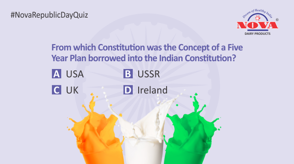 Question 5  Celebrate this #RepublicDay by taking part in the #republicdaycontest & stand a chance to win a gift hamper from #NovaDairy. Answer all the questions correctly using #NovaRepublicDayQuiz. Participate, share & tag your friends.  #Contest #ContestAlert #RepublicDay2020