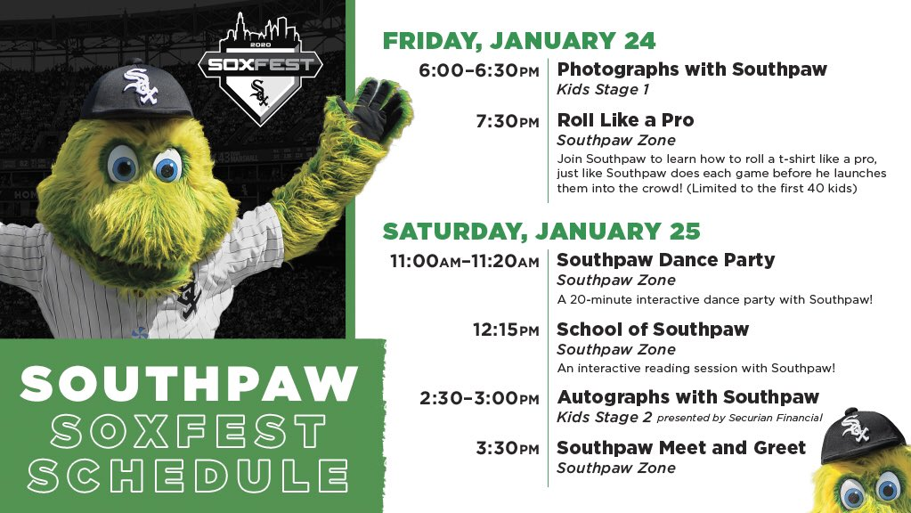 Come see me at SoxFest today and tomorrow for some PAWesome activities! #ChangeTheGame #SoxFest2020