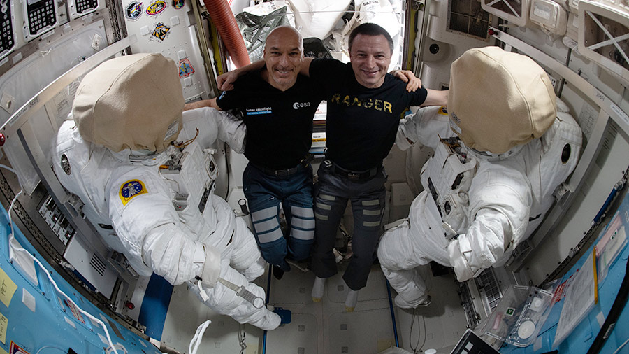 Watch Exp 61 crewmates @Astro_Luca and @AstroDrewMorgan fit their spacesuits with arms and legs for a spacewalk set to begin Saturday at 6:50am ET. They will finish the repairs on a cosmic ray detector.