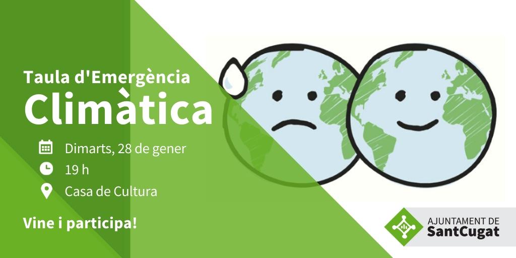 #SantCugat no s'escapa dels efectes devastadors del canvi climàtic i cal actuar amb rapidesa per combatre'l. Si tens idees i vols contribuir a fer front a l'#emergènciaclimàtica, vine el dimarts 28 i participa. T'hi esperem!  @albagordo