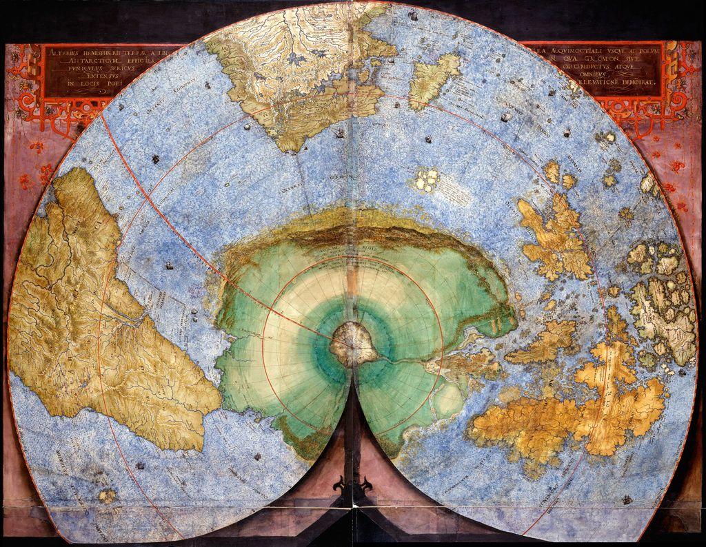 Hemisferio Sur incluido en el manuscrito «Orbis terrestris descriptio» de Christian Sgrooten