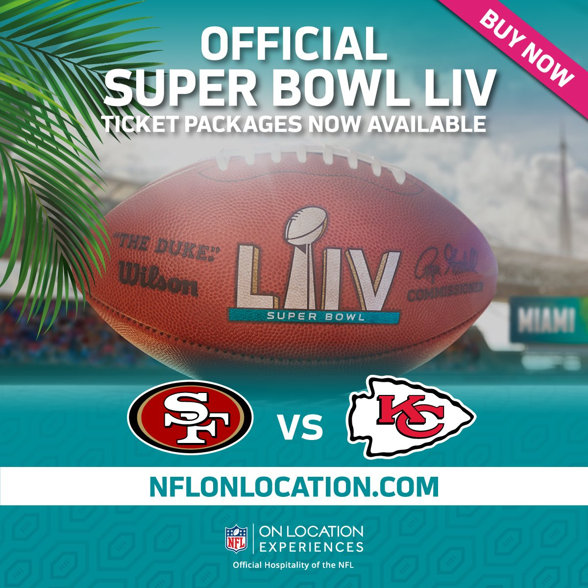 Two incredible teams. One awesome city. Don't miss your chance to join me and @NFLOnLocation for the Super Bowl LIV Experience of a lifetime in Miami! #SB54OnLocation Official Ticket Packages are going fast. Book yours today ➡️ bit.ly/2stq2Ef