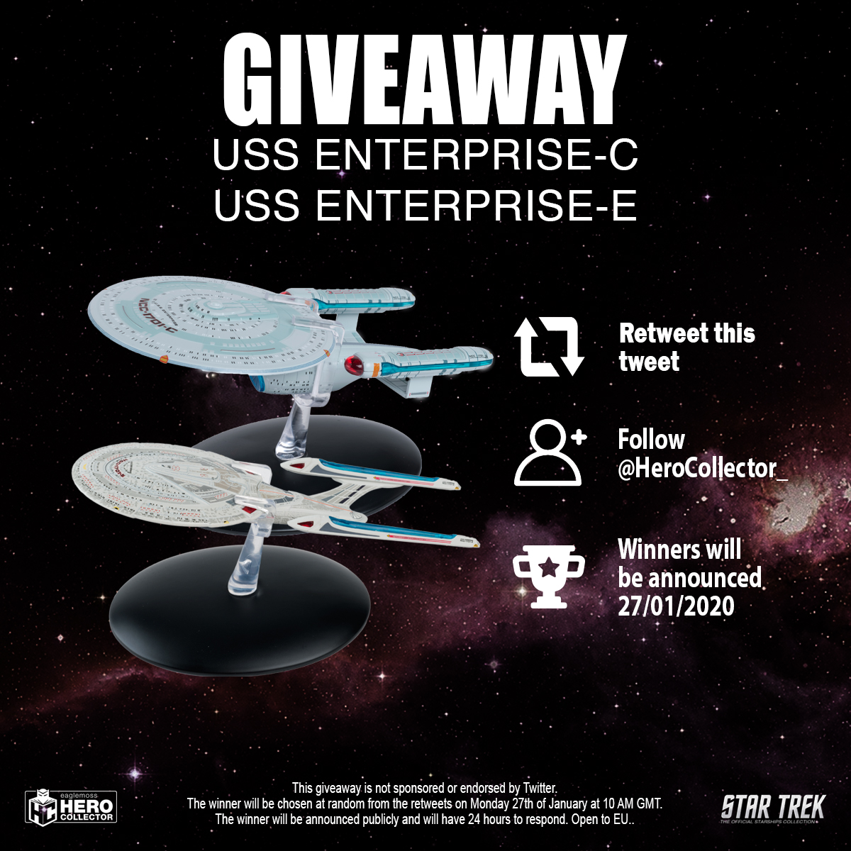 In honour of #StarTrekPicard day were giving away the Enterprise-C from the classic #StarTrek #TNG episode Tomorrows Way, and the Enterprise-E as featured in the Star Trek: The Next Generation movies. #FreebieFriday #FridayFeeling #Giveaway