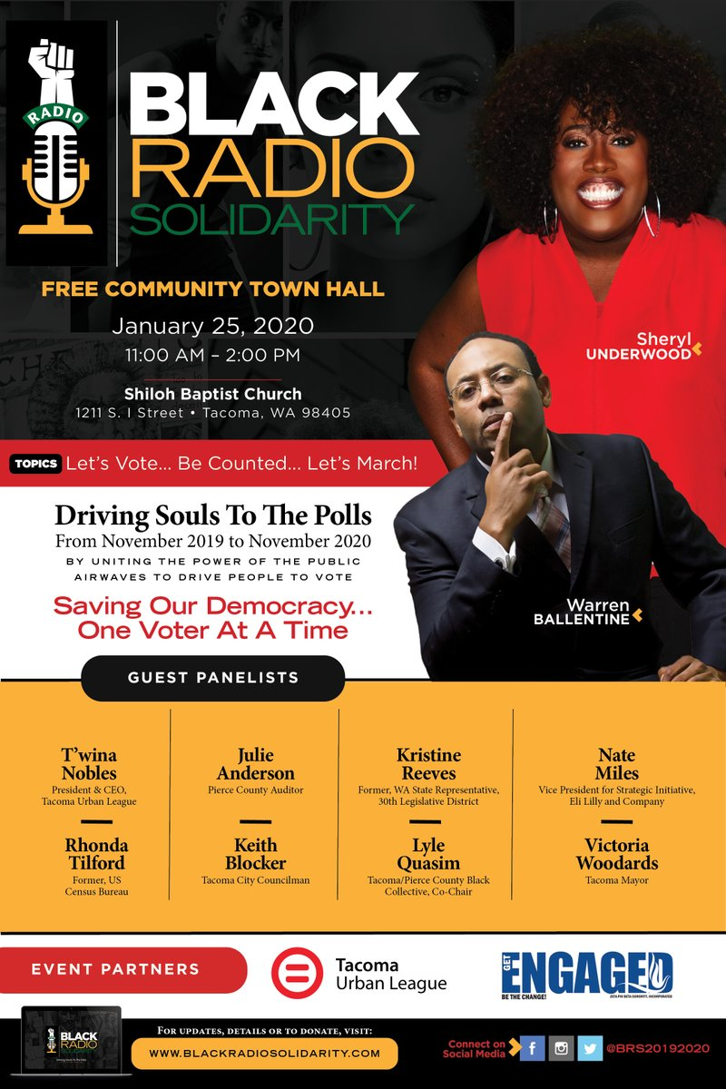#SaveTheDate - Driving Souls To The Polls - January 25th 11:00am - 2:00pm at Shiloh Baptist Church in Tacoma.