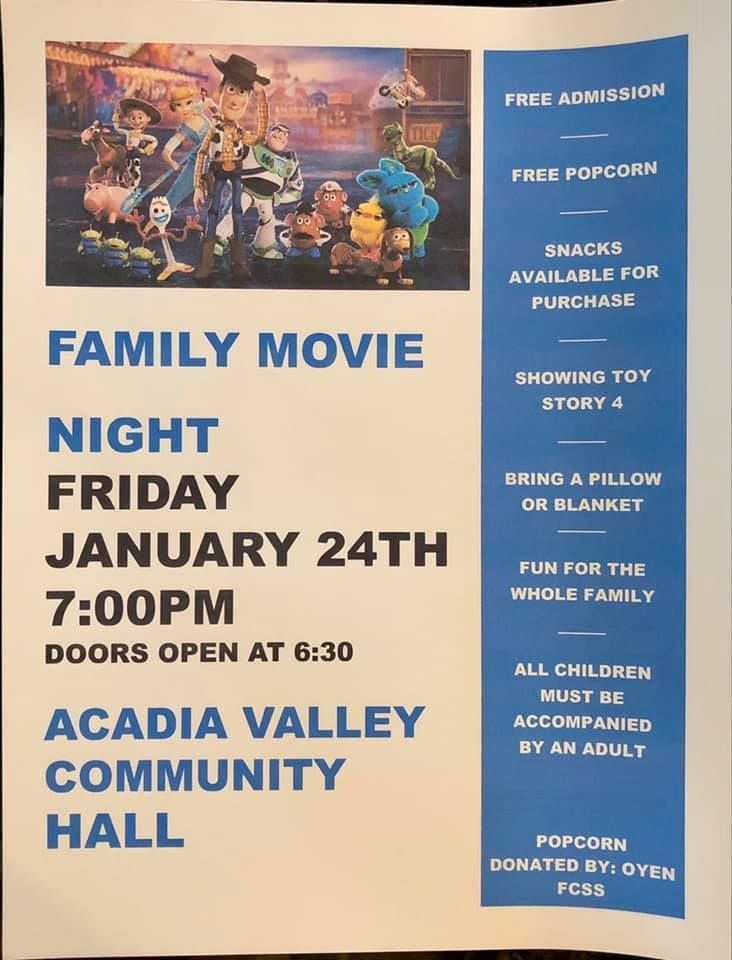 test Twitter Media - Tonight is Family Movie Night in Acadia Valley!  Join them for Toy Story 4 starting at 7 pm!  #R2REvents #R2R #AcadiaValley #MDofAcadia #Alberta #FamilyMovie #MovieNight #FamilyNightOut  https://t.co/Ad7EAUmrnb https://t.co/WqUzUayRb7