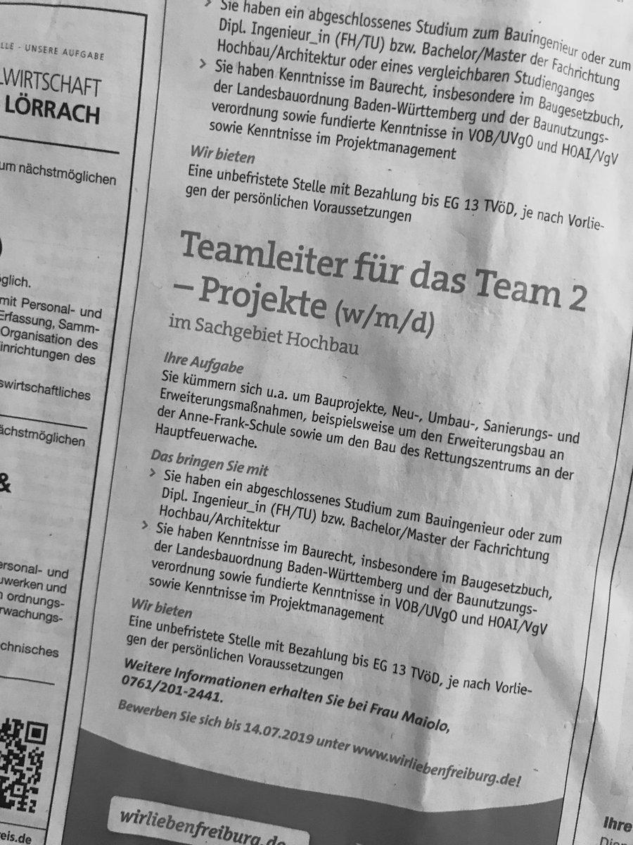 ドイツの求人広告ではすっかり定着した性別の書き方。weiblich 女性 / männlich男性 / divers 多様性わざわざ書く必要がない社会になる前の段階的な時代のかな。#性別 #性別不問 #ダイバーシティ
