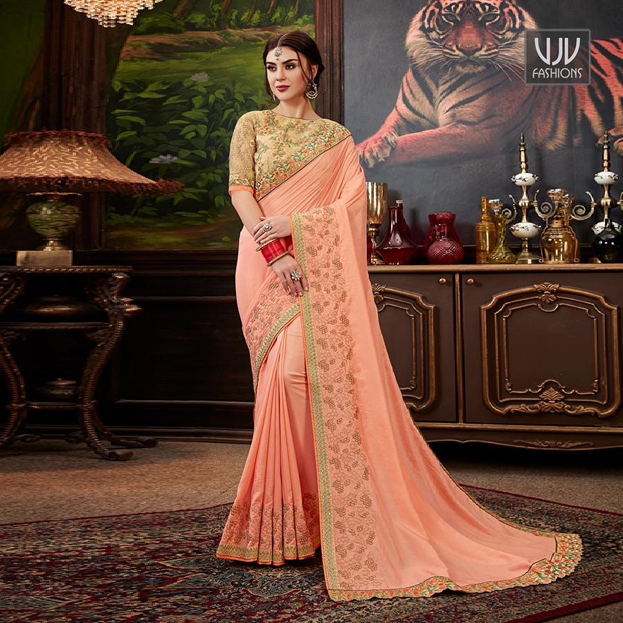 Buy Now @ http://bit.ly/2SA1Iei . Elegant Peach Color Silk Classic Designer Saree . Fabric - Silk . Product No  VJV-STYL3010  . #saree #sarees #designersaree #weddingsaree #bridalsaree #embrioderysaree  #bridalwearsaree #lehengastylesaree #traditionalsareepic.twitter.com/r8qY1nyXso
