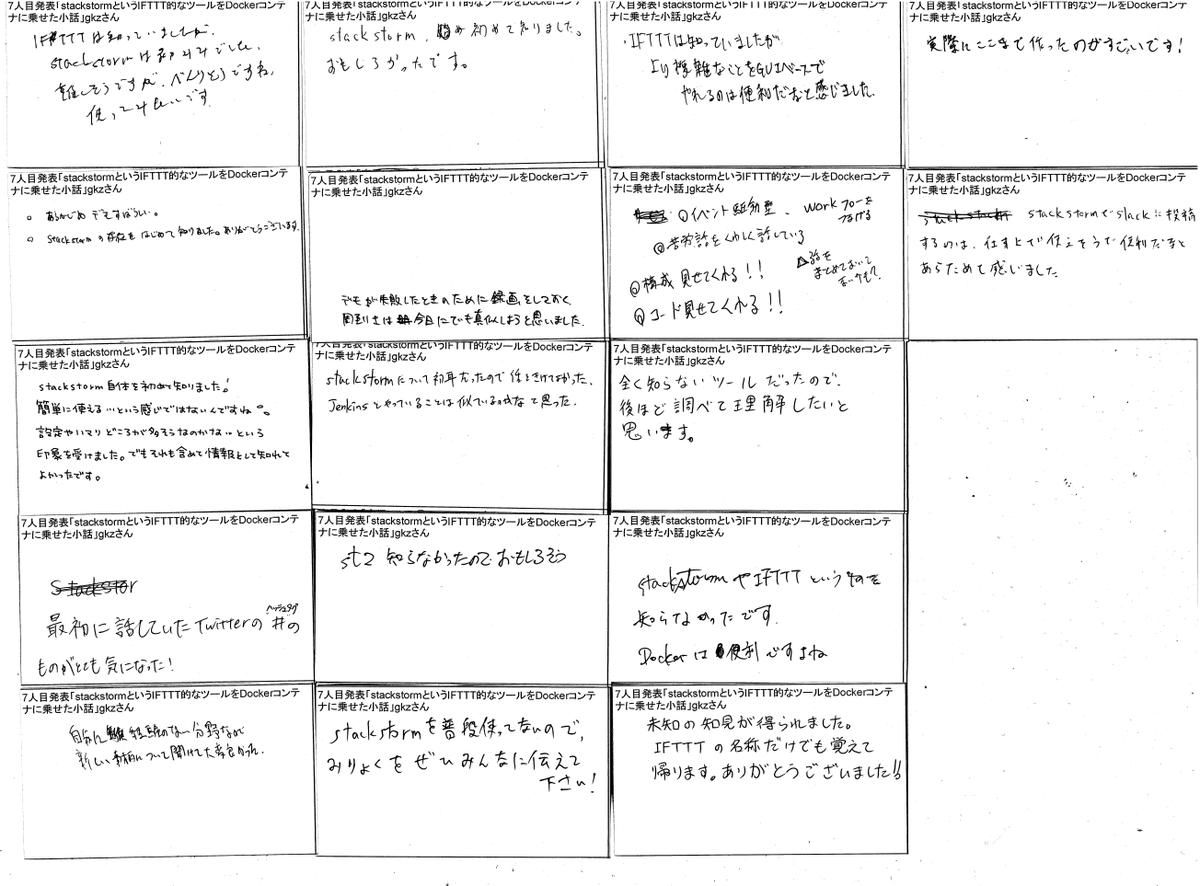 @asuka4624254 からLTのフィードバックとLTしているときの写真をいただいた。ありがとうございます。褒められるとめちゃくちゃがんばるタイプなのでうれしい笑。■発表に使った資料↓StackstormというIFTTT的なツールをDockerコンテナに載せた小話