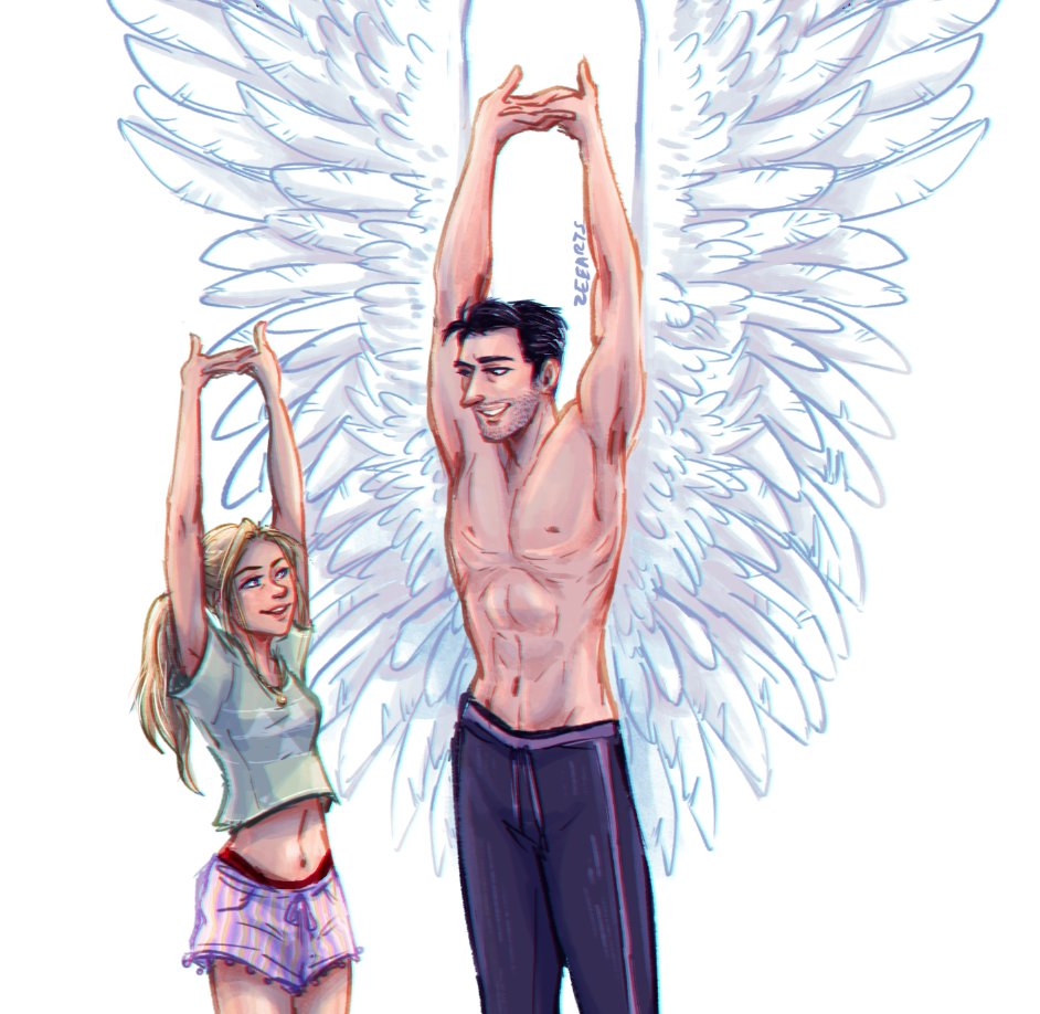 A big wing stretch!! Happy Birthday to elleflies, of whom I obtain all my bird and wing-related knowledge, who spoils me with her excellent writing and screams with me in the DMs!! #deckerstar #lucifernetflix #wings