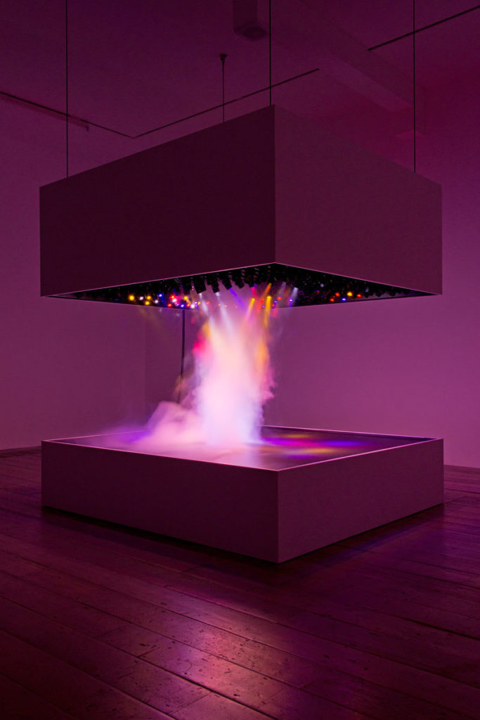 #artworkoftheday Pierre Huyghe's 'L'Expédition Scintillante, Act 2', 2002, features a computer-controlled lighting rig and fog machine – creating dazzling light shows. pic.twitter.com/WeO0adUlMr