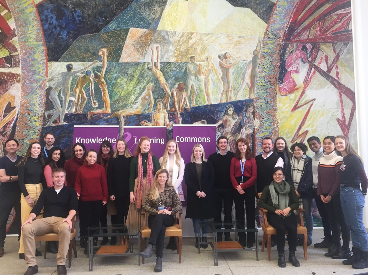 A group of law students from the Australian National University in Canberra which recently visited the United Nations Library at Geneva.
