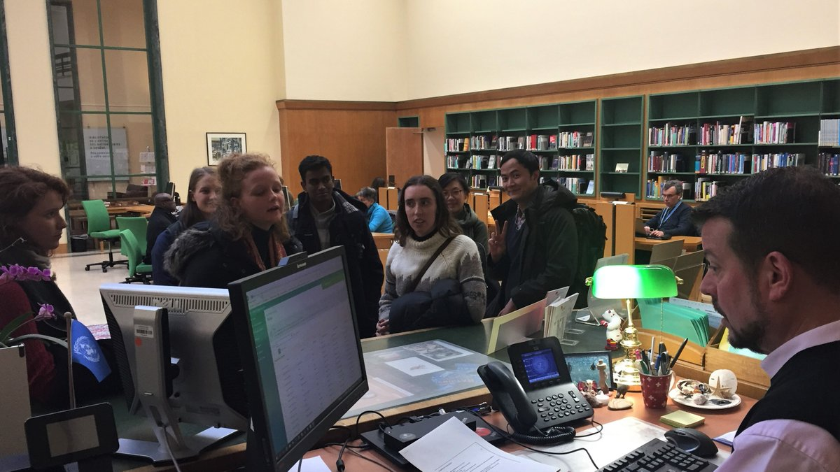 Law students from the Australian National University in Canberra opened their accounts at the United Nations Library at Geneva.