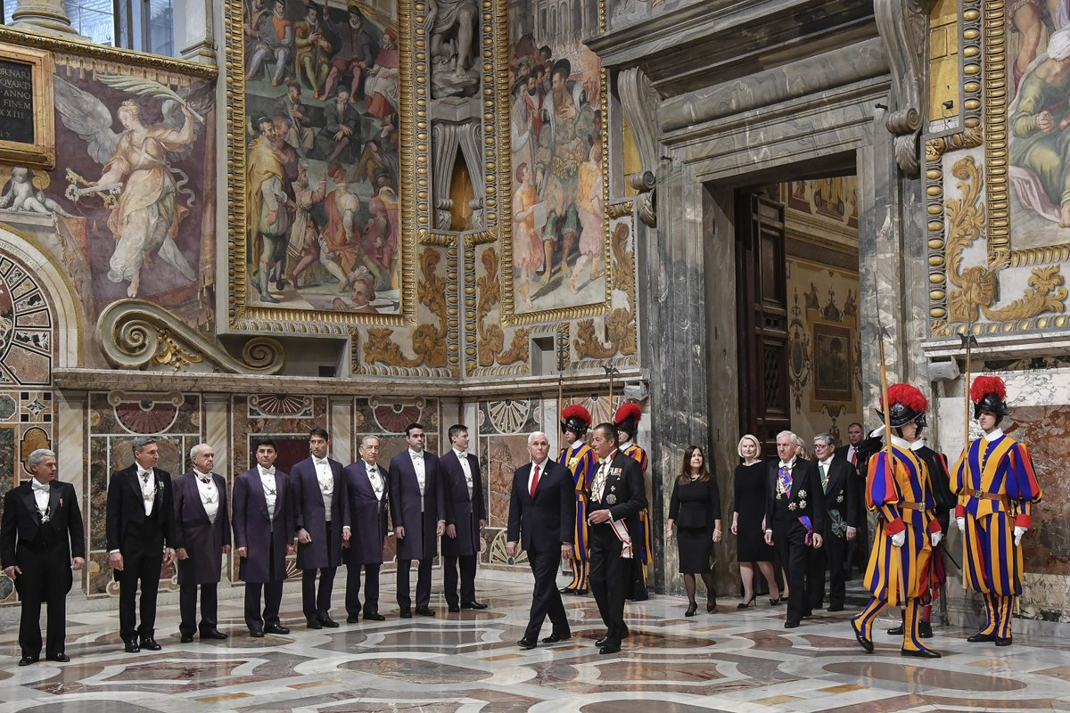 Ambassador Gingrich was honored to join Vice President @Mike_Pence , @SecondLady , and their daughter-in-law Sarah Pence for a tour of the Vaticans Sala Regia, the Pauline Chapel, and the Sistine Chapel. #VPintheVatican  #USHolySee  (Alessandro Di Meo/Pool Photo via AP)