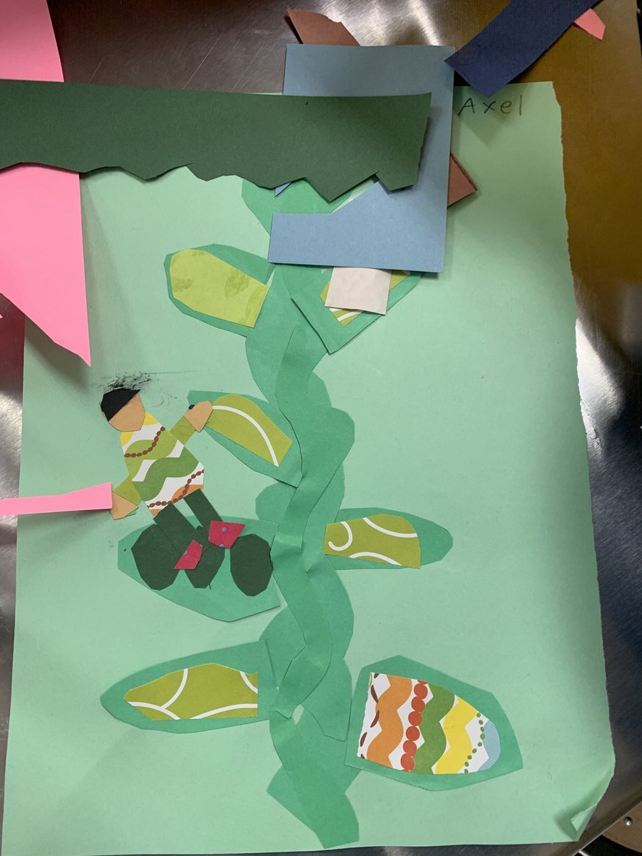 2nd Grade Jack and the Beanstalk inspired collage @ShilohPointES #ShilohShines #NightoftheArts