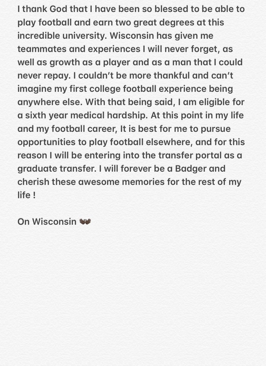 Wisconsin RB Announces Transfer Decision