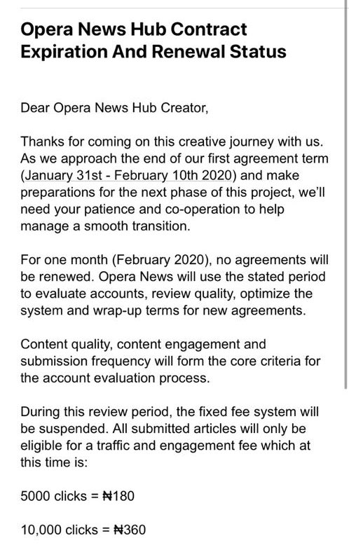 Wow. Opera Kicked all their content creators out, they won't be renewing contracts and just look at the rates for the review period. ₦180 for 5k clicks. What!! <br>http://pic.twitter.com/POfQNKuvDF