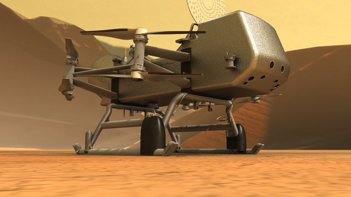 🪐✨ 'Dragonfly to Explore the Icy, Exotic World of Titan' The eight-bladed autonomous rotorcraft-#lander is planned to land on #Titan in 2034 and explore more than 100 miles of its surface. #Dragonfly Learn more ➡️: go.nasa.gov/2RngMLf Image credit: @JHUAPL